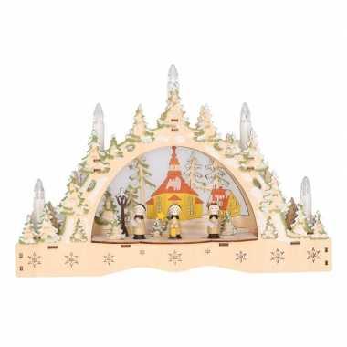 Houten kaarsenbrug met kerkje 35 cm