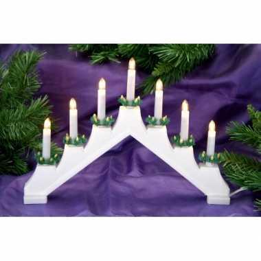 Witte kaarsenbrug met 7 lampjes